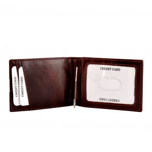 Money Clip Leather Wallet – Cherry