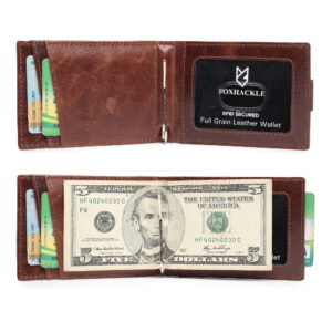 Money Clip Leather Wallet – Brown