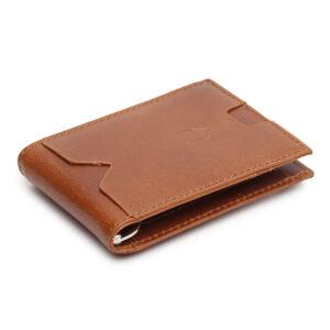 Money Clip Leather Wallet – Tan
