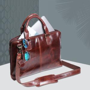 Men's Leather Messenger Laptop Bag – Brown Forest