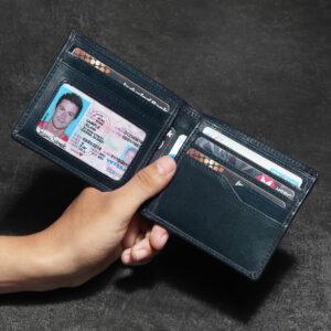 Bifold RFID Leather Wallet – Blue Ocean